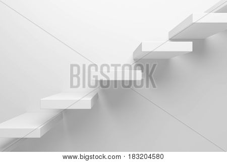 Ascending stairs of rising staircase going upward closeup view abstract white 3d illustration. Business growth progress way and forward achievement creative concept.