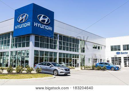 Indianapolis - Circa April 2017: Hyundai Motor Company Dealership. Hyundai is a South Korean Multinational Automotive Manufacturer V
