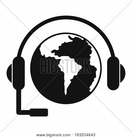 World planet and headset icon. Simple illustration of world planet and headset vector icon for web