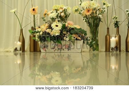 Cute blooming flowers and plants with green leaves in bottle vases and wooden flowerpot with floral drawings on glossy table surface indoors on white curtains background. Prosperity and celebration
