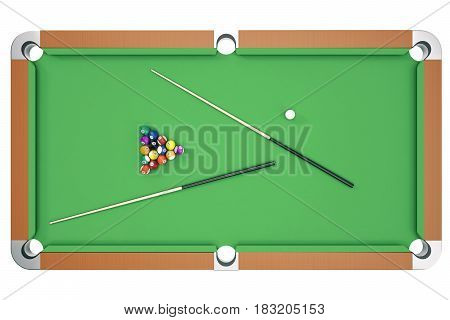 3D illustration Billiard balls on green table with billiard cue, Snooker, Pool game. Billiard concept, top view