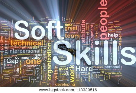 Background concept wordcloud illustration of soft skills glowing light