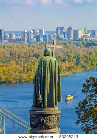 View of the monument of St Vladimir the Baptist of Russia with the Dnieper river and the city of Kiev in Background
