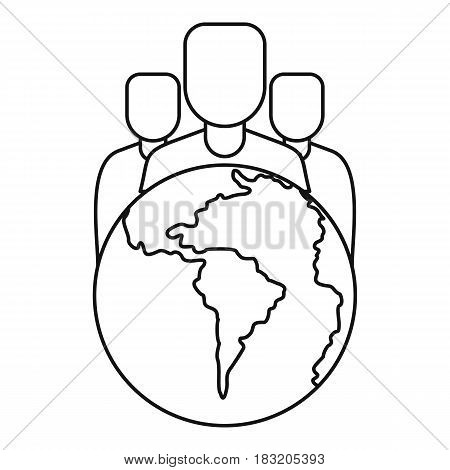 World planet and people icon in outline style isolated on white background vector illustration