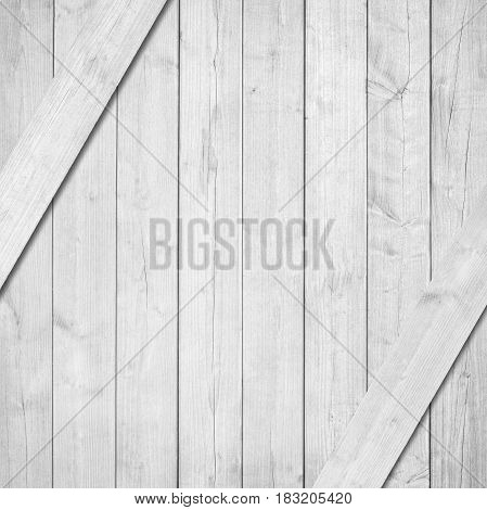Side of white, grey wooden crate, box with diagonal planks.