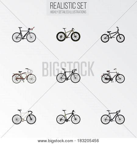 Realistic Exercise Riding, Competition Bicycle, Training Vehicle And Other Vector Elements. Set Of Sport Realistic Symbols Also Includes Bmx, Extreme, Dutch Objects.