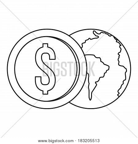 World planet and dollar coin icon in outline style isolated on white background vector illustration