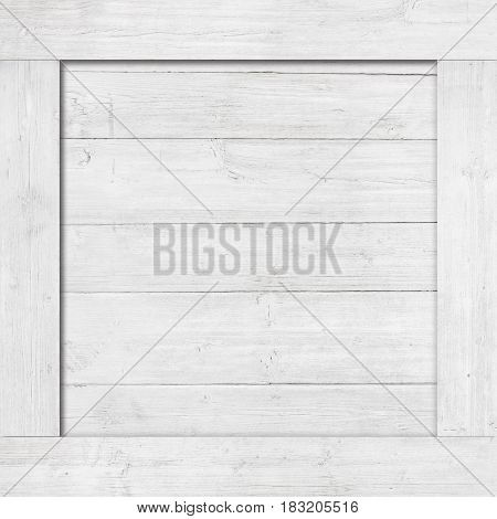 Side of white wooden crate, box, wall or frame.