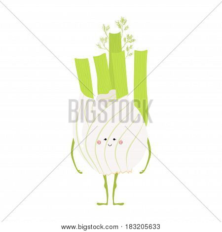Vector illustration of cartoon vegetable. Funny character face isolated on white background. Hand drawn cute fennel.