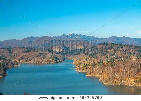 Panoramic view of Lokvarsko lake, beautiful mountain autumn landscape, Lokve, Gorski kotar, Croatia