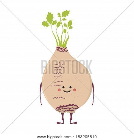 Vector illustration of cartoon vegetable. Funny character face isolated on white background. Hand drawn cute rutabaga.