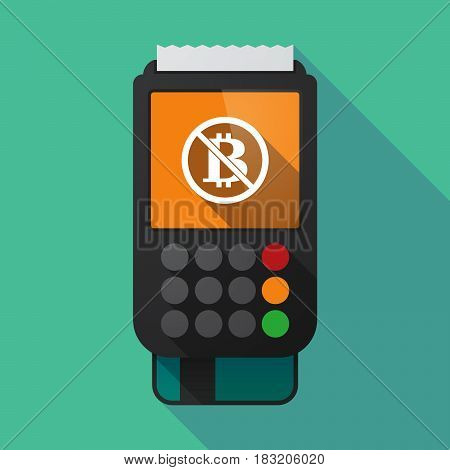 Long Shadow Dataphone With  A Bitcoin Sign  In A Not Allowed Signal