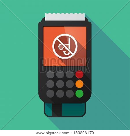 Long Shadow Dataphone With  A Diving Glasses And A Snorkel  In A Not Allowed Signal