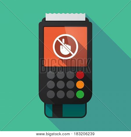 Long Shadow Dataphone With  A Touching Hand  In A Not Allowed Signal