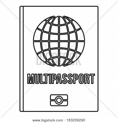 Multipassport icon in outline style isolated on white background vector illustration