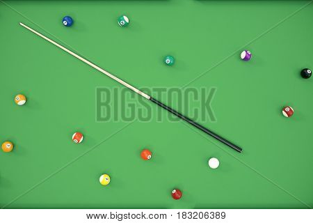 3D illustration Billiard balls in a green pool table, pool billiard game, Billiard concept