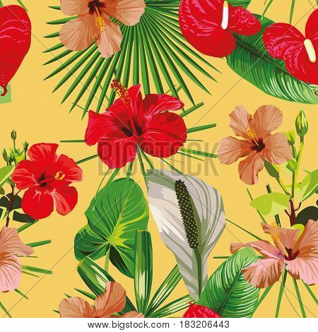 Tropical wallpaper composition of different flowers and leaves. Seamless vector pattern on a yellow background