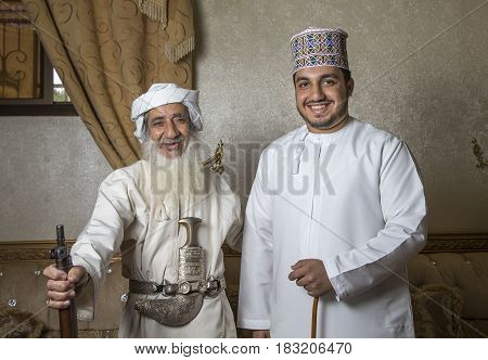 Nizwa Oman 26th May 2016: omani men in traditional outfits