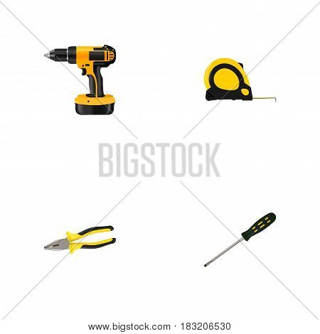 Realistic Carpenter, Electric Screwdriver, Length Roulette And Other Vector Elements. Set Of Construction Realistic Symbols Also Includes Roller, Tape, Drill Objects.