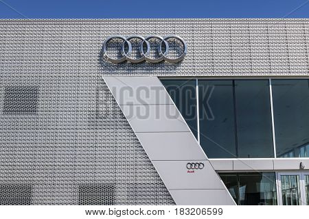 Indianapolis - Circa April 2017: Audi Automobile and SUV luxury car dealership. Audi is a member of the Volkswagen Group II