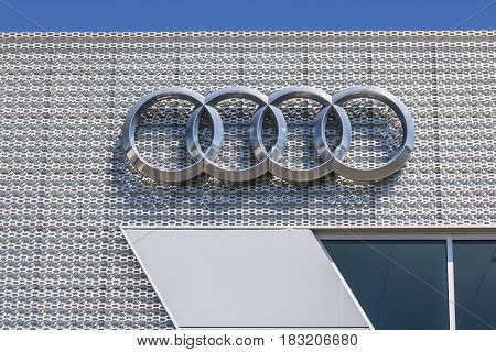 Indianapolis - Circa April 2017: Audi Automobile and SUV luxury car dealership. Audi is a member of the Volkswagen Group III