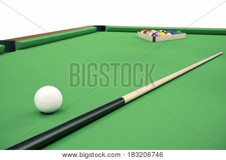 3D illustration Billiard balls on green table with billiard cue, Snooker, Pool game. Billiard concept