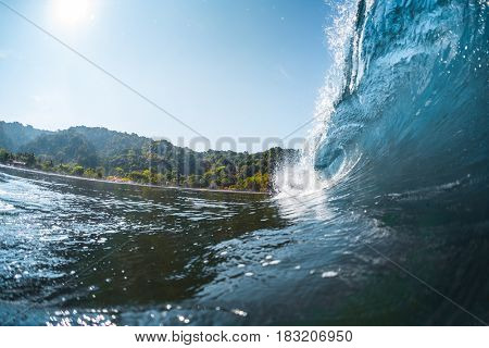 Wave breaking on the tropical shore