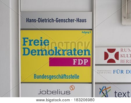 BERLIN GERMANY - APRIL 23 2017: FDP Plaque At The National Office Of The Party At Hans-Dietrich-Genscher-Haus In Berlin