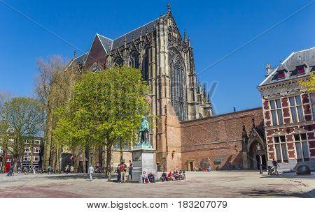 UTRECHT, NETHERLANDS - APRIL 09, 2017: Dom church at the central square in Utrecht, Netherlands