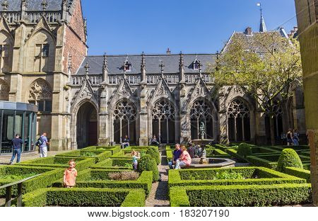 UTRECHT, NETHERLANDS - APRIL 09, 2017: Courtyard of the Dom church in Utrecht, Holland