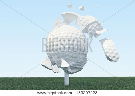3D illustration Golf ball Scatters to pieces after a strong blow and ball in grass, close up view on tee ready to be shot. Golf ball on sky background