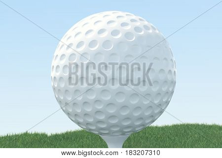 3D illustration Golf ball and ball in grass, close up view on tee ready to be shot. Golf ball on sky background