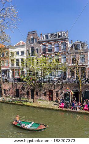 UTRECHT, NETHERLANDS - APRIL 09, 2017: Little boat in the canals of Utrecht, The Netherlands