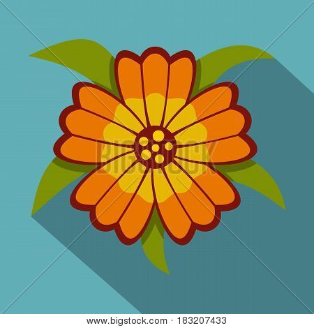 Orange flower icon. Flat illustration of orange flower vector icon for web on baby blue background