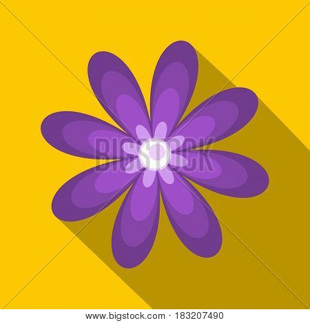 Purple flower icon. Flat illustration of purple flower vector icon for web on yellow background