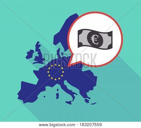 Long Shadow Eu Map With  An Euro Bank Note