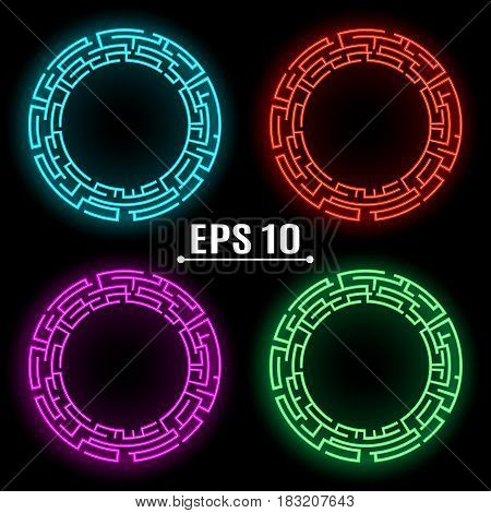 Neon glowing banners of different colors .Techno Geometric Vector Circle. Modern Science. Abstract Background. EPS 10