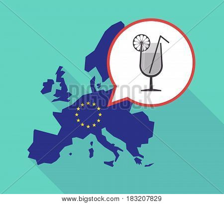 Long Shadow Eu Map With  A Cocktail Glass With A Slice Of Lemon And A Straw