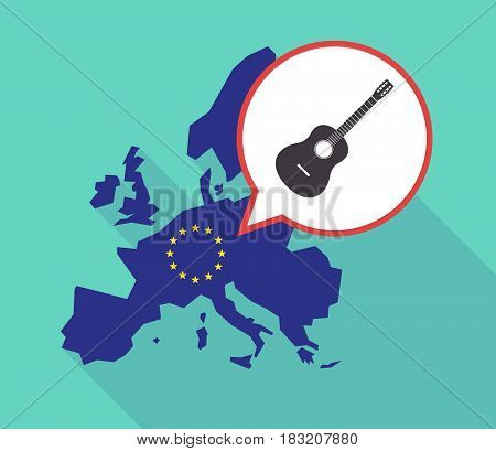 Long Shadow Eu Map With  A Six String Acoustic Guitar