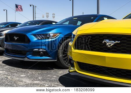 Indianapolis - Circa April 2017: A Local Ford Car and Truck Dealership. Ford sells products under the Lincoln and Motorcraft brands V
