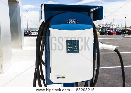 Indianapolis - Circa April 2017: Leviton Electrical Charging Station at a Local Ford Dealership. Ford manufactures the C-MAX Energi SE and the Focus Electric Vehicles VII