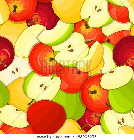 Ripe juicy apple seamless background. Vector card illustration. Closely spaced fresh apple fruits peeled, piece of half, slice. Apples seamless pattern for packaging design food, juce.