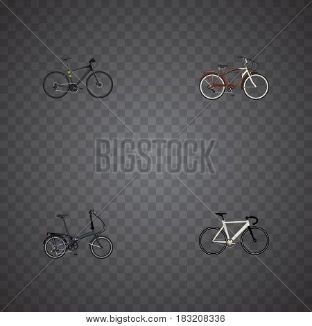 Realistic Folding Sport-Cycle, Hybrid Velocipede, Journey Bike And Other Vector Elements. Set Of Lifestyle Realistic Symbols Also Includes Cruise, Track, Training Objects.