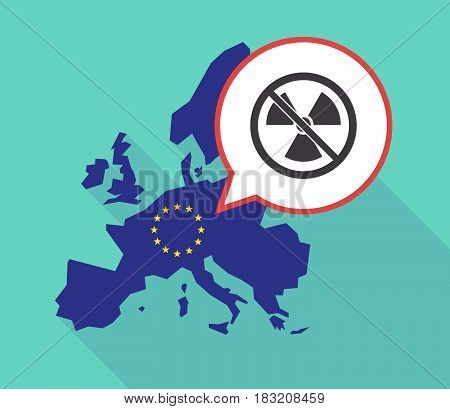 Long Shadow Eu Map With  A Radioactivity Sign  In A Not Allowed Signal