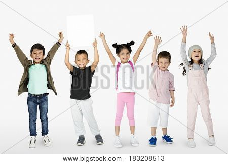Little Kids Together Show Blank Paper Copy Space Studio Portrait Isolated