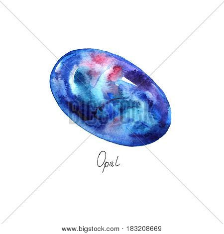 Opal isolated on white background. Realistic illustration of gems drawn by hand with watercolor