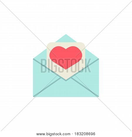 Love letter flat icon, mothers day card, envelope with hearth vector graphics, a colorful solid pattern on a white background, eps 10.