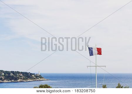 View Of The French Riviera Coastline From Nice's Hillside