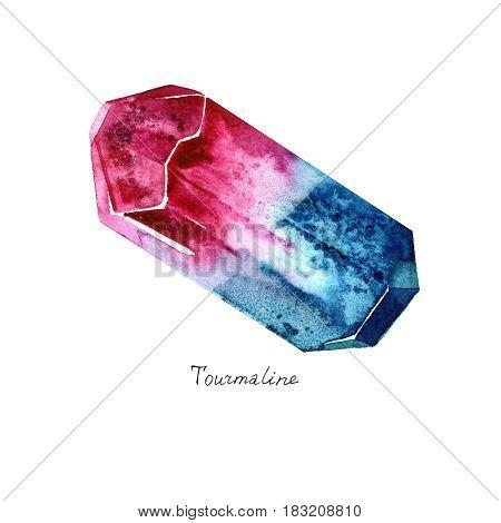 Watercolor Tourmaline. Semiprecious crystal. Hand drawn illustration on white background