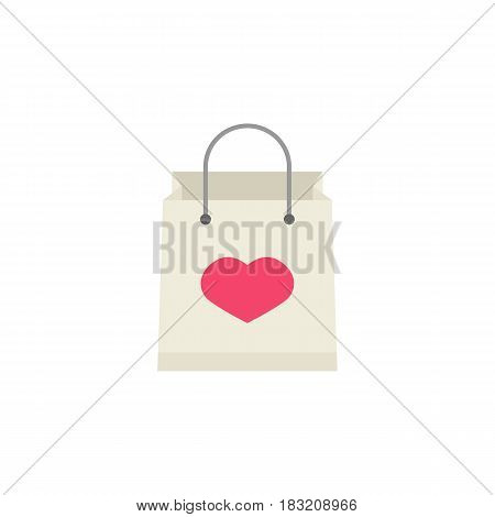 Shopping bag with heart flat icon, mothers day, holiday vector graphics, a colorful solid pattern on a white background, eps 10.